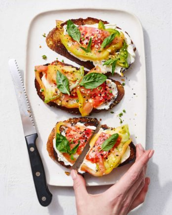Tomatoes on Toast by Joanie Simon.  Food photo shot with NIKKOR Z 24-70mm f/2.8 S
