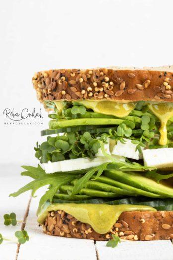 Green Veggie Sandwich by Reka Csulak. Food photo shot with Canon EF 100mm f/2.8 USM Macro