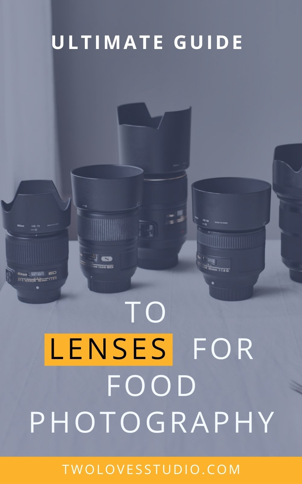 5 food photography lenses sitting on a table with the text ultimate guide to lenses for food photography