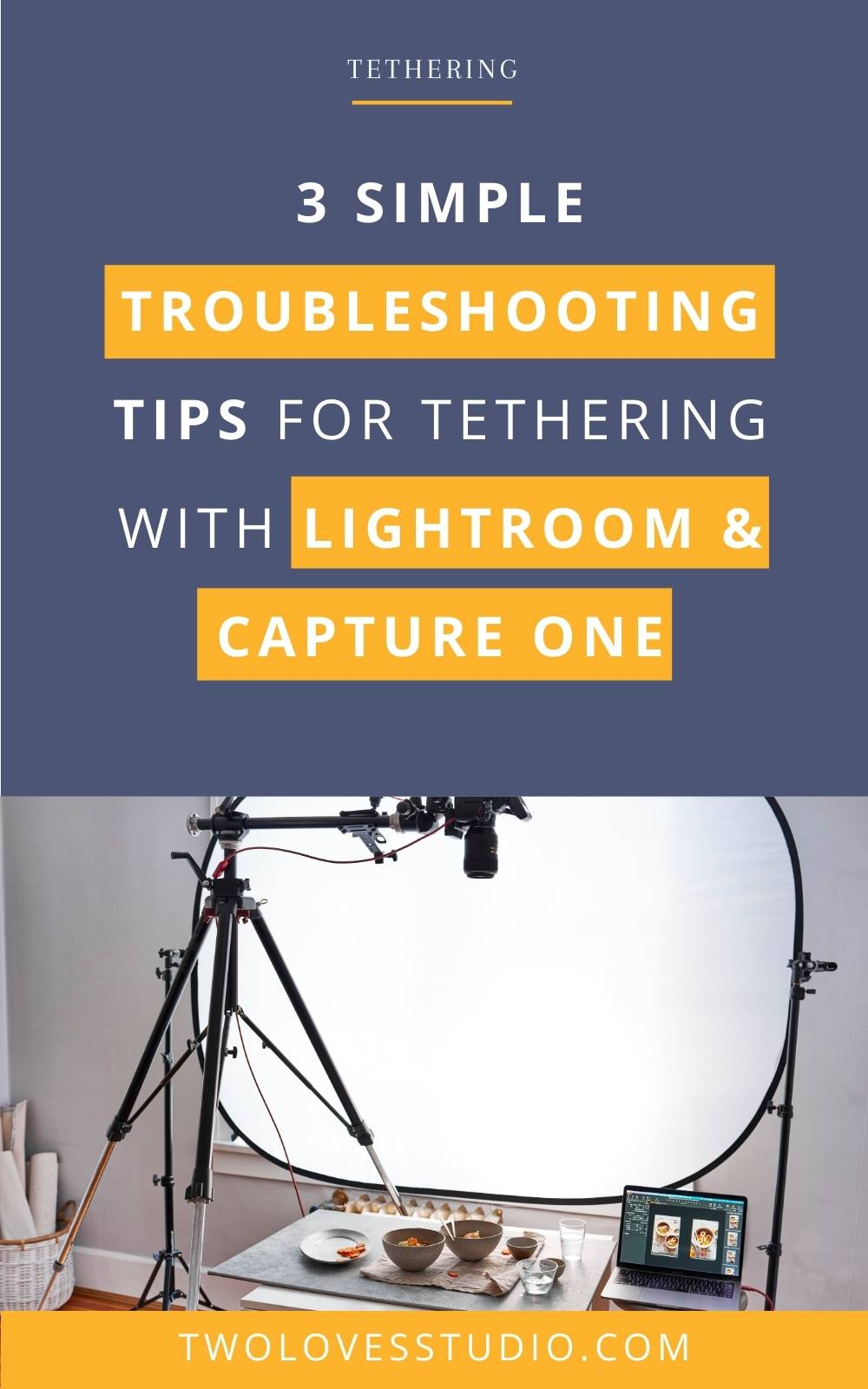 Behind the scenes shots of tethering and photography set up.