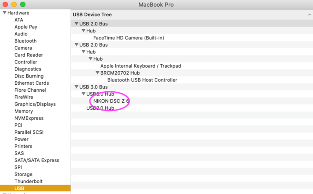A screenshot of a mac USB section to see if a camera is detected by a computer for troubleshooting tethering tips