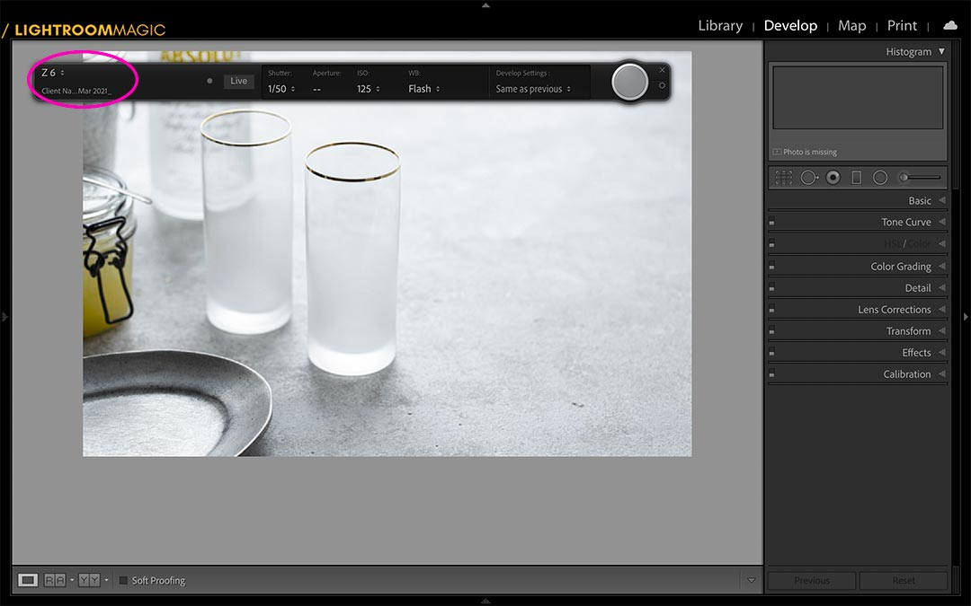 A screenshot of Lightroom to show the tether bar that is only enabled when a camera is connected.