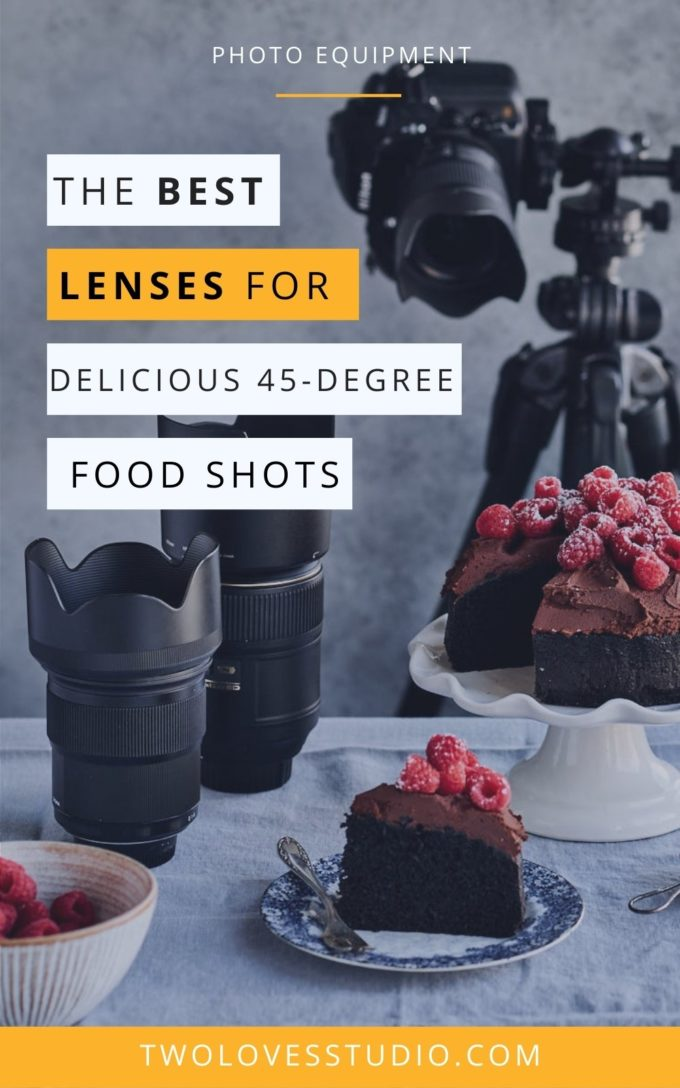 A shots of a camera on a tripod with photography lenses and a chocolate cake with raspberries.