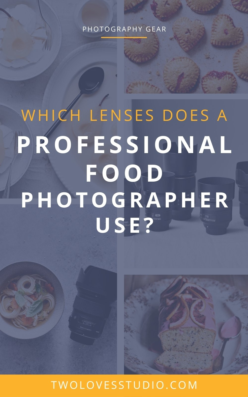 A collage of food photography images with the words which lenses does a photographer food photographer use.