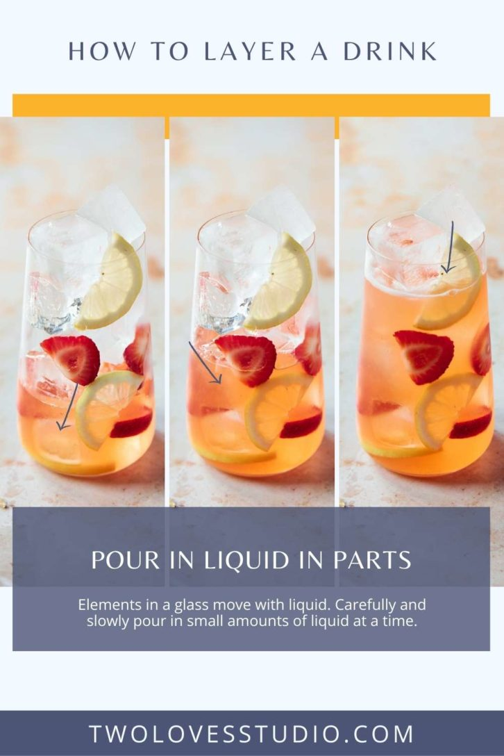 Example shots of fruit layers in a glass while liquid is being poured in.