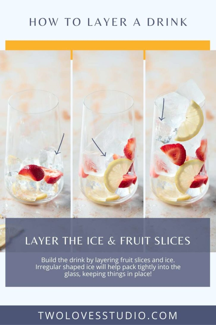 Example shots of building fruit layers in a glass before the liquid is poured in.