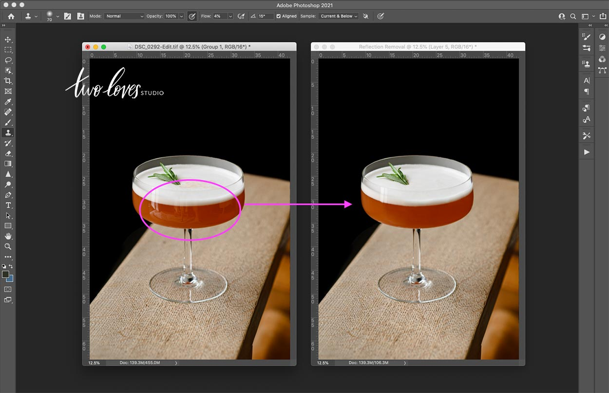 Before and After cocktail on a wooden plank. Foam on top of cocktail with a single rosemery spring.
