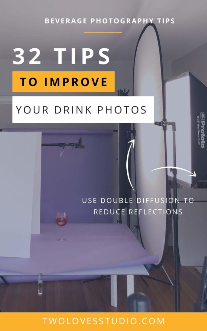 Example on how to diffuse reflections. A glass on a table with purple backdrop and a light reflector.