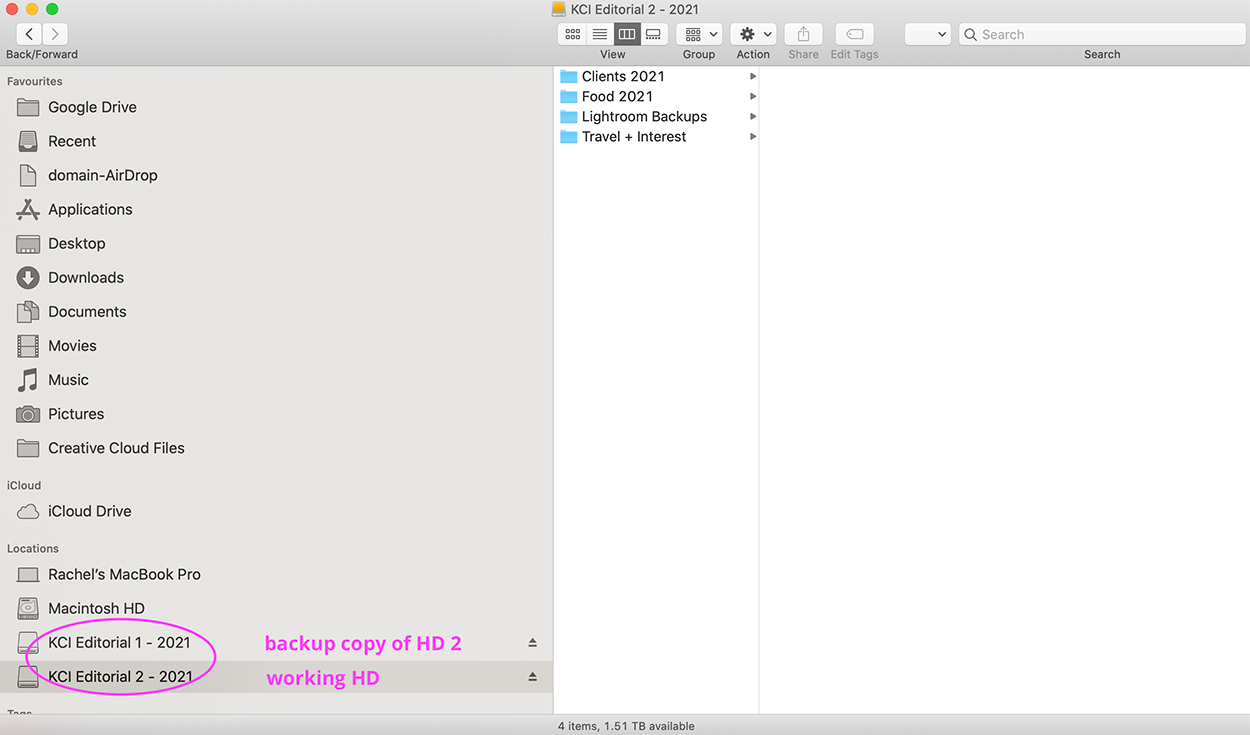 A screen shot of a photography backup workflow and how to locate and label an external hard drive for photography.