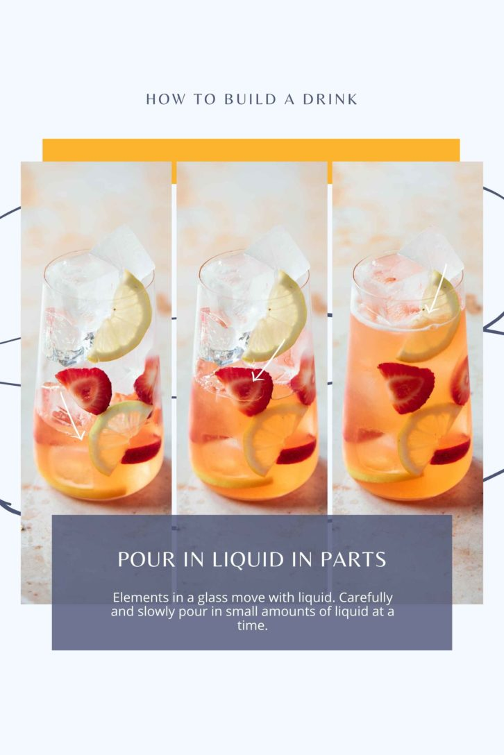 Three glasses side by side with fruit and ice layered in each glass and increasing liquid in each glass from left to right.