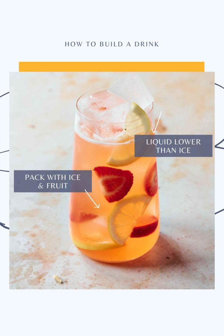 A tall glass full of liquid, ice and fruit slices. The ice touching the tops of the glass shows the final step of how to layer drinks.