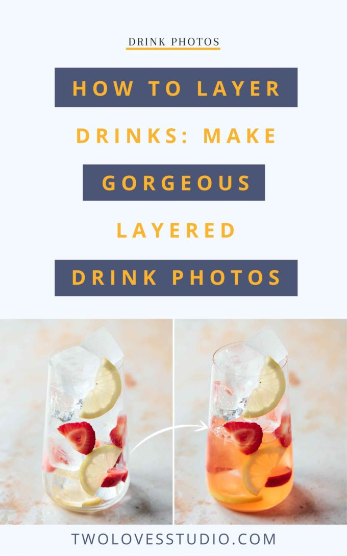 Two glass side by side with ice, fruit on a marble background. The right glass has liquid poured in it.